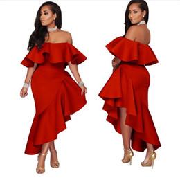 Verão 2019 sexy amarelo preto vermelho off ombro plissado vestido de festa sexy assimétrico vestidos verano nova festa cheap asymmetrical dresses red de Fornecedores de vestidos assimétricos vermelhos