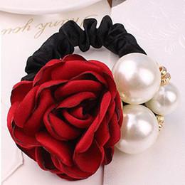 2019 ткань цветок волос галстук Fabric Rose Flower Hair Pearls Hairband Ponytail Holder Rope Ring Tie Gum for Hair Accessories дешево ткань цветок волос галстук