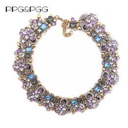 Gargantilla de cristal morado online-PPGPGG Joyería de Moda de Lujo de Las Mujeres Rhinestone Collar Purple Crystal Bib Choker Declaración Collares Colgantes