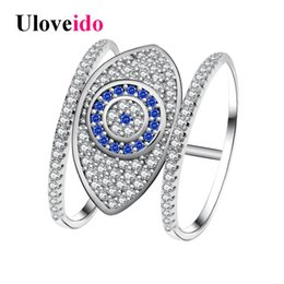 Wholesale Eye Jewellery - whole saleUloveido Blue Evil Eye Rings for Women Cubic Zirconia Female Ring with an Eye Jewellery Gifts for the New Year Decorating Y325