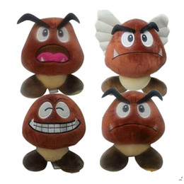 Wholesale Cute Mario Bros - 15cm Super Mario Bros Goomba Plush Toy Stuffed Soft Dolls Cute Animals Dolls Gift 4 Styles OOA4439