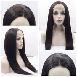 Wholesale New Yaki Hair - New Dark Brown 2# Yaki Straight Long Full Lace Wigs with Baby Hair Heat Resistant Glueless Synthetic Lace Front Wigs for Black Women