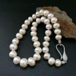 """Perle di keshi naturali online-Collana di perle bianche Keshi 9-10mm 19 """"naturali"""