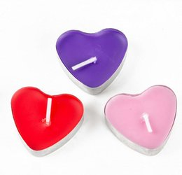 Wholesale pink pillar candles - 2Hours Candle Hosley's Set of 50 Heart Style Tea Light Candles Smokeless And OdourlessTealight Birthday Valentine day Weddings Product