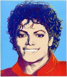 2019 pinturas da selva Agradável Andy Warhol Novo pop art michael jackson, A14 Pintados À Mão HD Impressão Abstrata Moderna Arte Colorida Pintura A Óleo Sobre Tela. Tamanhos múltiplos Aw2