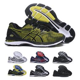 2019 Asics GEL-Nimbus 20 Homens Amortecimento Running Shoes Qualidade Superior Online Preto Azul Esporte Sapatilhas Sapatos de Grife Formadores 7-11 cheap black shoes for men online de Fornecedores de sapatos pretos para homens online