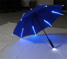 Wholesale Night Light Automatic - Creative LED Light Umbrella Multi Color Blade Runner Night Protectio Umbrellas Anticorrosive New Arrive 38jn Y R