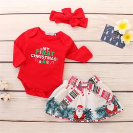 mameluco Rebajas Baby Girls My First Christmas Conjuntos de ropa para niños Carta de manga larga Traje Romper Mono + Falda estampada + Diadema Niñas Traje de Papá Noel