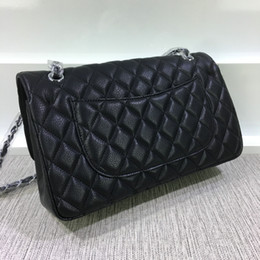 Top quality brand design Large Double Flap Bag Genuine Patent Leather  Quilted chain Bag Black HW Lambskin Women Shoulder Messenger Bag 6d1d1c3f8867e