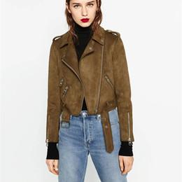 Короткий рукав кожа мотоцикл жакет онлайн-Faux Leather Suede Jackets Women Autumn Short Slim Basic Jackets Female Long Sleeve Coat 2018 Winter Cool Motorcycle Streetwear