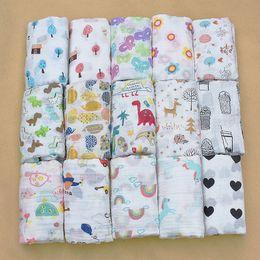 Wholesale gauze blankets - PINK SWAN100%Muslin Cotton Blankets Dinosaur Unicorn Patterns Multi-use Newborn Swaddle Muslin Infant Gauze Both Towel Baby Warp
