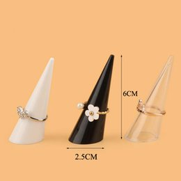 Wholesale display finger jewelry - 2018 Fashion New Popular 21PCS Lot Mini Jewelry Finger Ring Holder Triangle Cone Jewelry Display Shelf Rack Stand Wholesale price