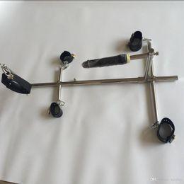 dildos sets Desconto Aço inoxidável Unisex Escravidão dog escravos BDSM dispositivos conjuntos algemas algemas tornozelo pescoço gola dildo sex furniture