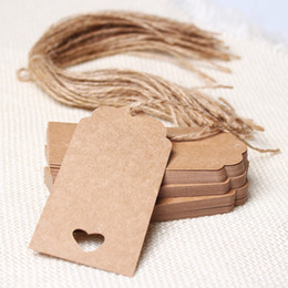 Wholesale Weddings Cards Designs - Rectangle and Circle Shape Design 50 PCs Brown Kraft Paper Hang Tags Wedding Party Favor Punch Label Price Gift Cards