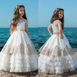 Wholesale communion dresses size 14 - Country Fashion Flower Girls Dresses For Weddings 2018 Lace Cap Sleeve First Communion Dress Custom Size Little Girls Pageant Dresses