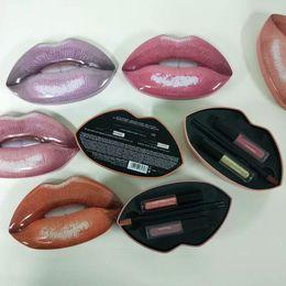 Wholesale Makeup Lip Line - HOT Beauty lipstick Big mouth lip gloss + lip line set makeup lipstick 5 colors FREE SHIPPING