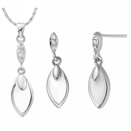Wholesale Christmas Ornaments Personalize - Uloveido Silver Color Wedding Jewelry Sets Ring Necklace Elegant Personalized Valentine's Day Ornaments Fashion Set for Women