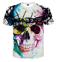 Cráneo del verano de las muchachas t shirts online-Colorful Skull Print 3d Camiseta Big Boys And Girls Unisex Ropa Niños Summer Casual T-shirts Niños '; S Tees Tops