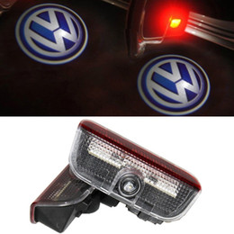 Wholesale Vw Tiguan Led - 4Pcs Lot Car Door LED Light Welcome Light Ghost Shadow Projector for VW Golf Passat CC