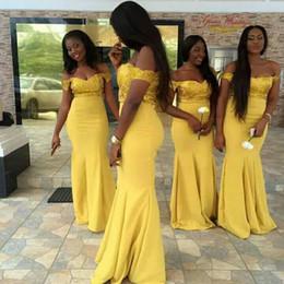 2019 vestidos baratos amarillo país Vestidos de dama de honor africanos amarillos más el tamaño sexy fuera del hombro vestidos de baile Sirena Top Lentejuelas País barato Chiffon Garden vestidos de verano vestidos baratos amarillo país baratos