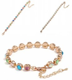Wholesale hand accessories for girls - Simple Metal Diamond Crystal Bracelet Boutique Wristlet Colorful Tennis Bangle Jewelry Hand Accessories For Women Girls Gifts Free DHL H411R