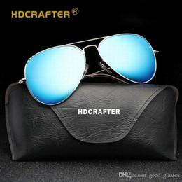 Wholesale square drive - New HDcrafter Sunglasses Pilot Men Women UV400 Brand Designer Mirrored Bands Gafas Oculos de Sol Driving Sun Glasses