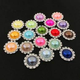 Canada 18mm Plat Retour Cristal Perle Boutons 100 pcs / lot 20 Couleurs Métal Strass Cristal Lâche Diamants Bijoux Accessoires DIY T2C349 Offre