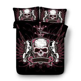 Envío de la gota Conjunto de ropa de cama de calavera 3D Juego de funda nórdica de impresión Ropa de cama con funda de almohada Textiles para el hogar WY01 desde fabricantes
