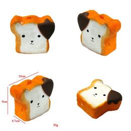Encantos de comida squishy on-line-Toast Squishy Kawaii Squeeze Comida Pequeno Urso Squishies Charme Do Telefone Lento Rising Rebound Jumbo PU Ventilador Brinquedo 5 4jh V