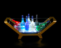 Wholesale Luminous Ice Bucket - LED Luminous Beer Wine Bottle Holder Led Charging Ice Bucket 6 12 Bottled Champagne Size Boat Shaped Bar