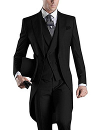 Wholesale ivory wedding suits for men - Wedding Suit For Man Custom Made 2018 Morning Long Jacket Tailcoat 3 Pieces Man Slim Fit Suit Black Groom Tuxedo Suit Bridegroom