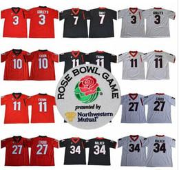 f78fe661d 2017-18 Rose Bowl Georgia Bulldogs 7 D Andre Swift 10 Jacob Eason 11 Jake  Fromm 27 Nick Chubb 34 Herschel Walker College Football UGA Jersey