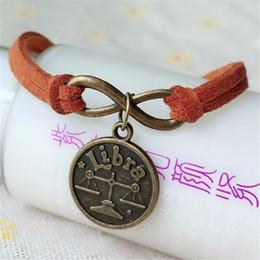 herren-tierkreis-armbänder Rabatt Mode 12 Chinese Zodiac libra Konstellation Armband Armreif Vintage Bronze Für Damen herren Schmuck Geschenk Zubehör Charme Armbänder