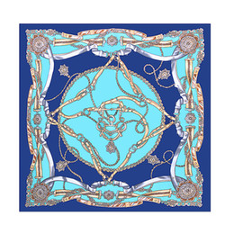 Wholesale European Scarves - 70cm*70cm Luxury Brand Women Silk Scarf Women European Style Print Chain Square Scarves Spring Summer Shawls For Ladies Fashion Headband