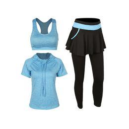 Wholesale Training Bra Sizes - 4 Piece Set Women Fitness Yoga Set Jacket&Bra&Trousers Sportswear Gym Clothes Elastic Training Suit Large Size Workout Leggings