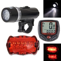 Wholesale mountain computers - Bicycle computer Speedometer + 5 LED Mountain Bike Accessories Cycling Light Head + Rear Lamp New bicycle lights ciclismo