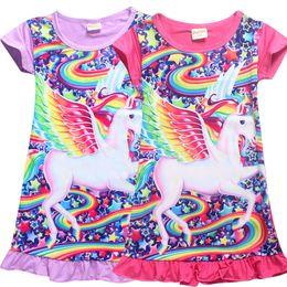 Wholesale cartoon girls beach - Unicorn Medium Length Skirt for Girls Baby Kids Girls Dress Unicorn Cartoon Nightgown Dress 4 Color for Children NewestT LC725