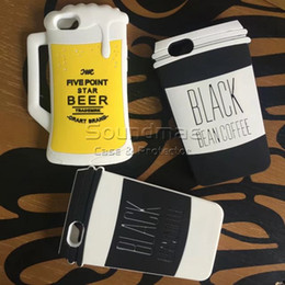 Wholesale Brown Coffee Mugs - 3D Cartoon Coffee Cup Bottle Silicone Phone Case Beer Mug Rubber Protective Back Cover Case For iphone X 8 7 6 6s plus