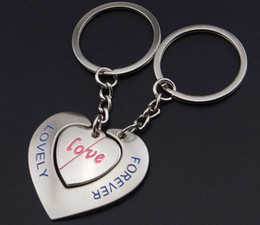 Argentina Aleación Doble Corazón Llaveros Amantes Regalos Favores de la boda Dulce corazón Amor Para siempre Llaveros Llaveros para el coche Suministro