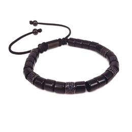 2019 cuentas de tubo negro 2018 moda caliente moda Tulum colección pulsera para hombres mujeres negro CZ Tube Beads hombres mujeres pulsera Onxy piedra regalo de la joyería rebajas cuentas de tubo negro