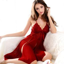 2019 pijamas de navidad de manga corta Sexy Camisón abierto Encaje Mujeres eróticas Hasta la rodilla camisón de lencería Fiesta de noche para damas Día de San Valentín Vestido de noche Disfraces