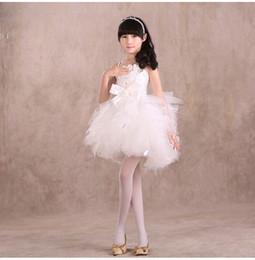 Wholesale White Ballet Skirt Children - Spring Summerlings Child Gules Wedding Dress Full Dress Princess Skirt Dancewear Kids Clothing Student Girl Performance White Red Ballet