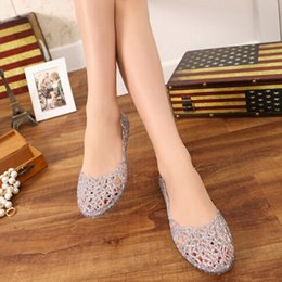 Wholesale high heeled jelly shoes - Women's Sandals 2018 Fashion Lady Girl Sandals Summer Women Casual Jelly Shoes Sandals Hollow Out Mesh Flats 23-25cm