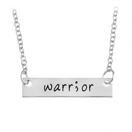 Wholesale survivor charms wholesale - Cancer Survivor Suicide Awareness and Prevention Inspirational Handstamped Warrior Bar Stick Semicolon Healthy Amulet Necklace