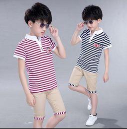 Wholesale korean kids shirts - 120-160 Big Boys Shirts Striped Long Sleeve Shirt Spring Autumn Cotton Shirt Boy Korean Kids Clothes wt1716