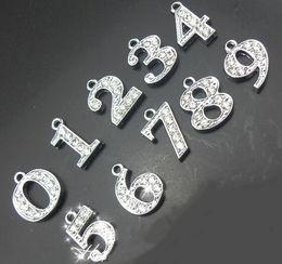 "Число связок ключей онлайн-Rhinestones Hang Pendant Number 20PCS/lot "" 0--9 Can Choose Each Number "" Fit For DIY Phone Strips & Keychains"