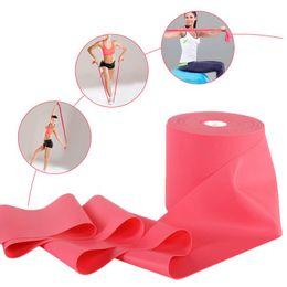 розовые полосы сопротивления Скидка Pink New 150cm Natural Tension Sports Rubber Expander Band Yoga Pilates Fitness Belt Stretching Pull Strap Yoga Resistance Bands