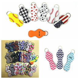 Wholesale fabric printing designs - Neoprene Chapstick Holder Keychain Printing Chapstick Wrap Lipstick Cover Multi Design Team Accessory Lipbalm Cozy DDA355