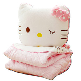Wholesale Coral Cushions - Cartoon Hello Kitty Pillow Blanket Three-In-One Hand Warmer Pillow Quilt Dual-Use Coral Fleece Blanket Cushion