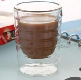 caneca da lente branca Desconto Frete Grátis Conjunto de 2 copos de vidro esmaltado, caneca de café espresso de mão dupla (80 ml), conjunto de 2, xícara de chá, Thermo Glass